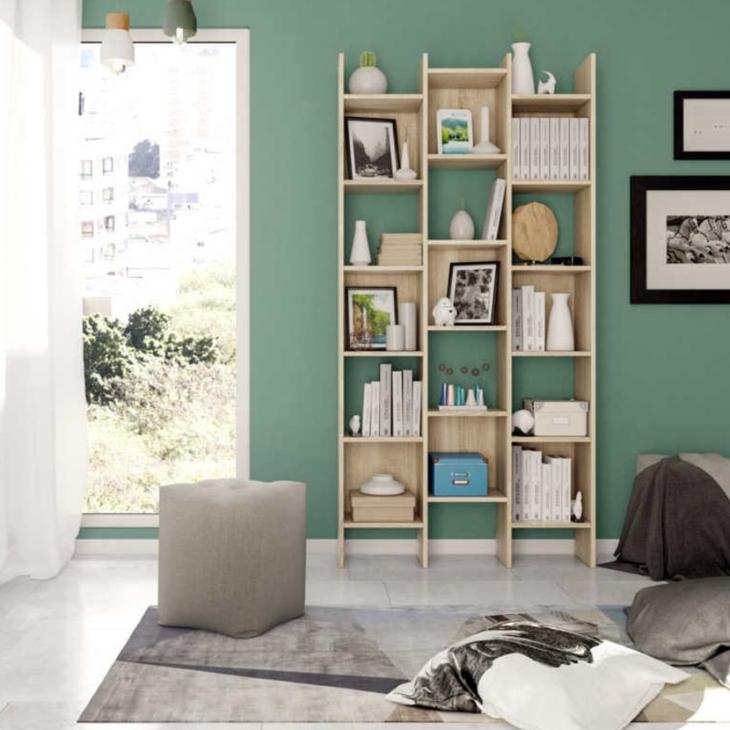 Estantería o librería en color roble canadian 192x96x29 cm