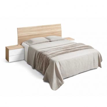 Pack cabezal + 2 mesitas de noche para camas de 150 cm en color nature y blanco