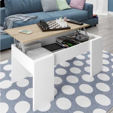 Mesa de centro elevable color roble canadian y blanco artik 43x102x50 cm