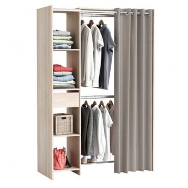 Kit armario extensible 1 cajon + cortina acacia 180x120x50 cm