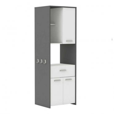 Mueble auxiliar alto microondas color blanco y gris grafito 180x60 cm