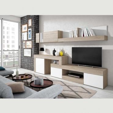 Mueble salón - comedor Malmo moderno en color sable y blanco 295x164 cm