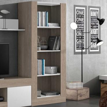 Biblioteca Malmo para salón - comedor color sable y blanco 180x80x40 cm
