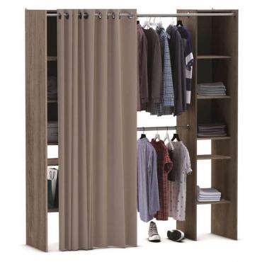 Kit armario extensible 2 barras colgadoras y 2 columnas con estantes roble prata