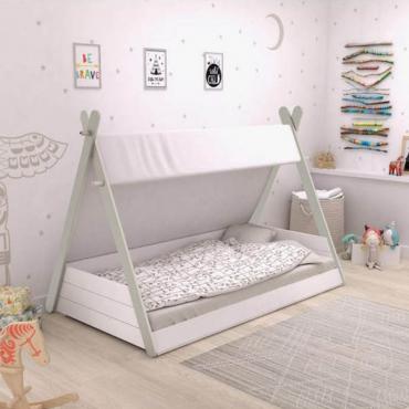 Cama infantil Totem diseño tipi tienda india con somier medida 90x200 cm
