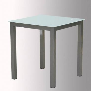 Mesa de cristal blanco