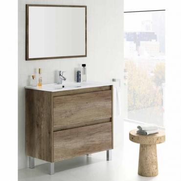 Mueble de baño y espejo sin lavamanos , Zenda color Nordik