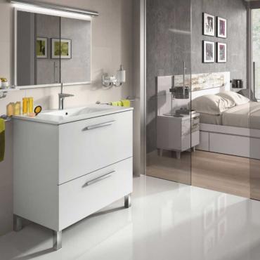 Mueble de baño y espejo sin lavamanos , Naida Blanco Brillo