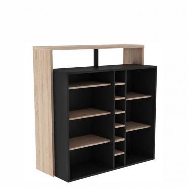 Mueble bar botellero roble y negro