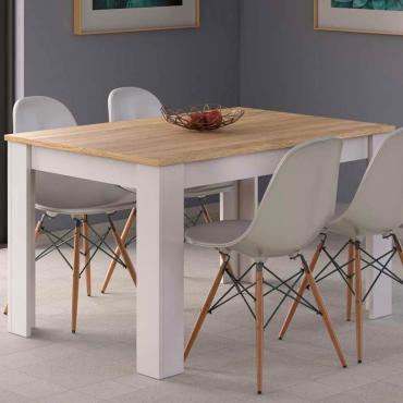 Mesa extensible blanco y roble