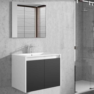 Mueble baño colgante Due con espejo blanco brillo y gris