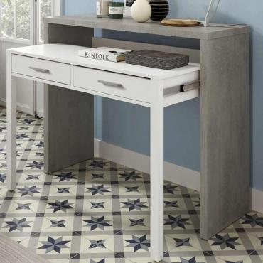 Consola escritorio desplazable Cemento