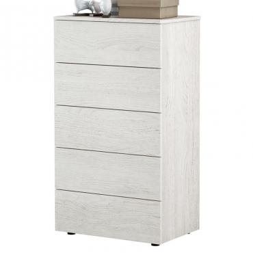 Cómoda Hera 5 cajones color blanco alpes 61x40x109 cm