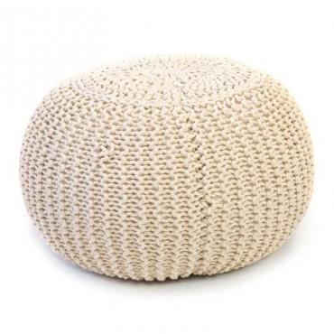 Pouf redondo trenzado color beige crochet