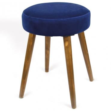 Taburete Velvet azul terciopelo patas madera