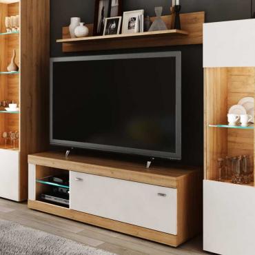 Mesa TV + estante Mara nogal y blanco