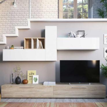 Mueble salón moderno Leo blanco y roble