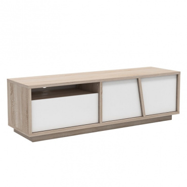Mueble TV moderno roble y blanco