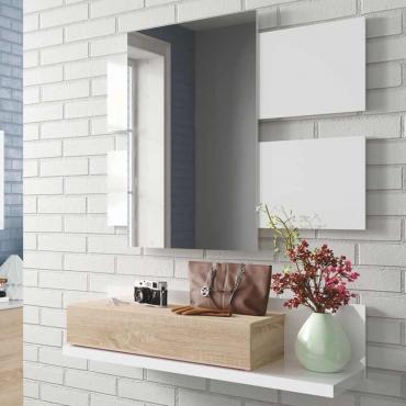 Recibidor con espejo blanco y roble