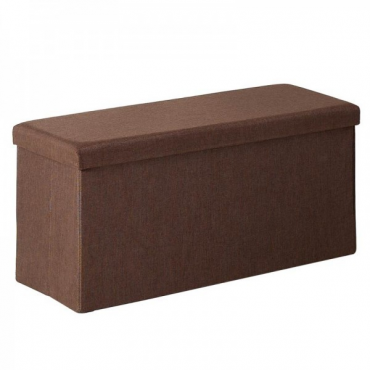 Pouf marrón rectangular con tapa