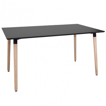 Mesa salón nórdica negra pata madera