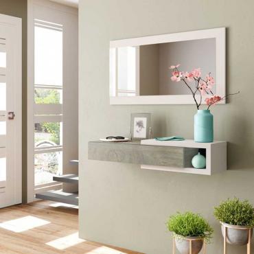 Recibidor Consola + Espejo. Blanco y nogal