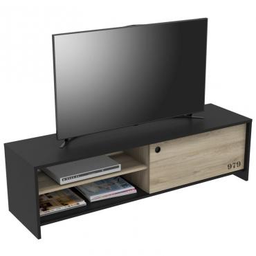 Mesa TV Tomy color negro y kronberg industrial