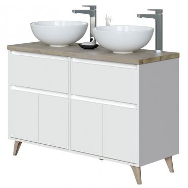 Mueble baño doble 2 cajones 4 puertas (LAVABO OPCIONAL)